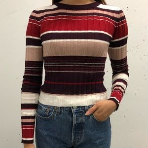 DYNAMITE Striped Ribbed Longsleeve Top